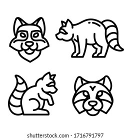 Raccoon icon set. Outline 4 icons, vector editable stroke pictogram of the walking raccoon, standing, sitting, profile and face of a raccoon, isolated on white background