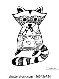 Racoon Coloring Page Hd Stock Images Shutterstock