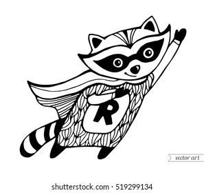 Raccoon isolated. Flying superhero cartoon. Funny character. Vector. Black and white. Coloring book pages for adult, kids. Zentangle artwork. Illustration, gift greeting card, branding, logo, emblem