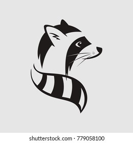 Raccoon Logo Symbol. Vector Illustration
