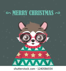 Raccoon portrait in ugly Christmas sweater