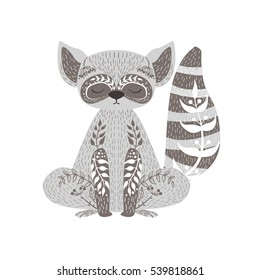 Raccoon Relaxed Cartoon Wild Animal With Closed Eyes Decorated With Boho Hipster Style Floral Motives And Patterns