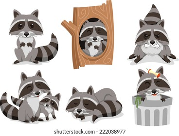 Raccoon Set, inside trash can. Vector illustration cartoon.