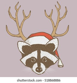 Raccoon vector illustration Christmas costume. Raccoons head with santa hat
