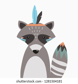 Raccoon.  Vector illustration in Scandinavian style with forest animals for printing on fabric, dishes, clothes, postcards, stickers. Cute baby background.