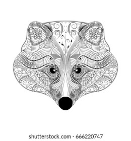 Raccoon, Zentangle style, antistress coloring book