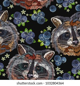 Raccoons and bilberry berries embroidery seamless pattern. Fashion template for clothes, textiles, t-shirt design. Classical embroidery portrait of funny raccoon pattern
