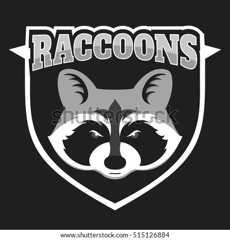 Raccoons Head Logo For Sport Club Or Team Animal Mascot Logotype Template Vector
