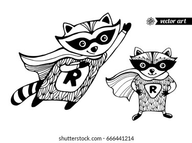 Raccoons isolated. Superhero cartoon animal. Funny character. Vector set collection. Black and white. Coloring book pages for kids. Zentangle artwork. Illustration, greeting card, branding, logo label