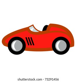 Race car in cartoon style or child's toy auto or automobile with a red paint job.