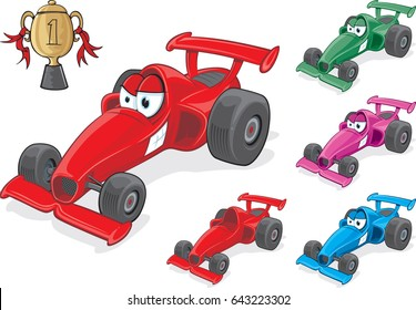 Race Car Character Cartoon race car in varying shades with cup