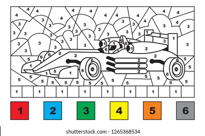 Race car. Color by number. Educational activity for children. Printable coloring page for kids.