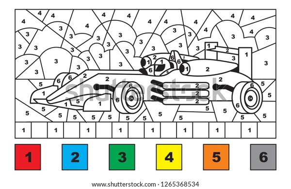 race car color by number educational