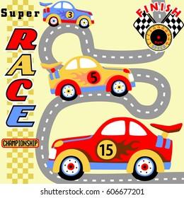 race car competition, kids t shirt design, wallpaper, vector cartoon illustration