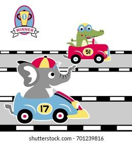 race car competition vector cartoon