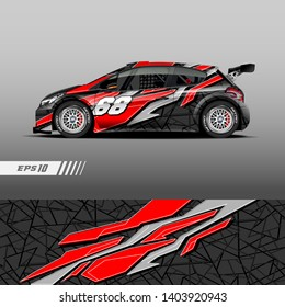Race car decal wrap design vector. Graphic abstract stripe racing background kit designs for vehicle, race car, rally, adventure and livery