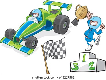 Race Car And Driver Cartoon racing car, driver and varying items