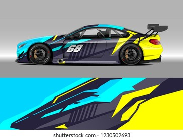 Race car livery design vector. Graphic abstract stripe racing background kit.