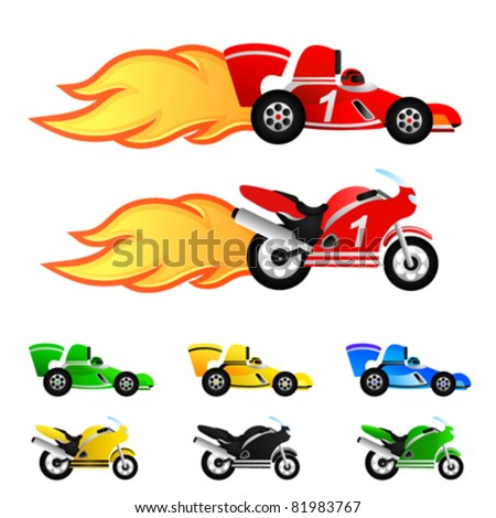 race car and motorcycle