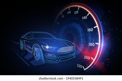 Race Car and Speedometer showing high speed.