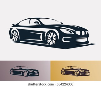 Race car symbol logo template, stylized vector silhouette.