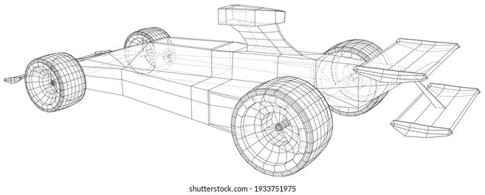 Rennwagen. Wire-Frame. EPS10-Format. Vektorgrafik von 3D