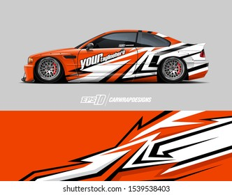 Race car wrap decal designs. Abstract background for racing livery or daily use car vinyl sticker. full vector.