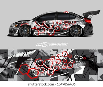 Race car wrap decal designs. Abstract racing and sport background for car livery or daily use car vinyl sticker. Full vector eps 10.