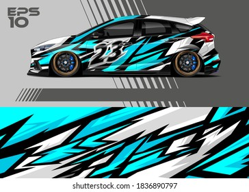 Race car wrap decal graphic design. Abstract stripe racing background designs for wrap cargo van, race car, pickup truck, adventure vehicle. Eps 10