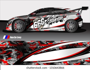 race car wrap design. simple lines with abstract background vector concept for vehicle vinyl wrap and automotive decal livery