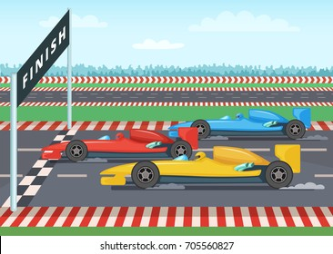 Race cars on finish line. Sport background illustration