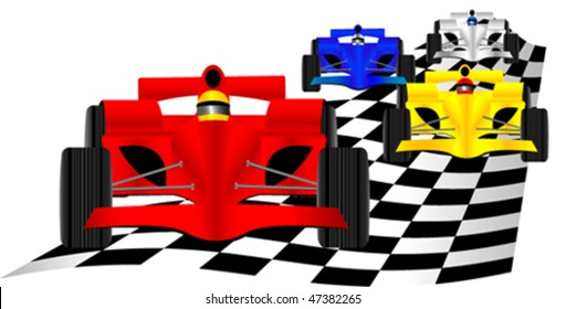 Race cars over checkered flag