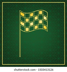 Race checkered flag sign. Golden icon with gold contour at dark green gridded white background. Illustration.