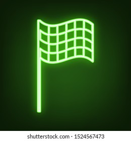 Race checkered flag sign. Green neon icon in the dark. Blurred lightening. Illustration.