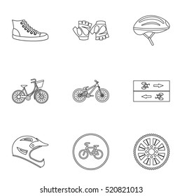 Race cycling icons set. Outline illustration of 9 race cycling vector icons for web