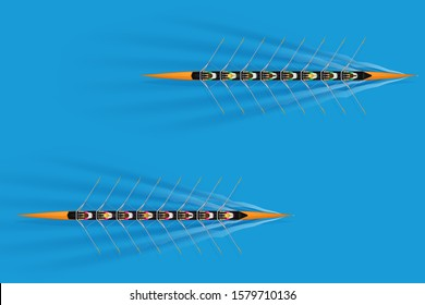 Race of Eight rowers with mixed paddlers on water surface. Women and men inside boats in moving. Top view of Equipment for Olympic waters sport rowing. Vector Illustration