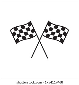 Race flag icon. Competition sport flag line vector icon. Start finish 0n white background
