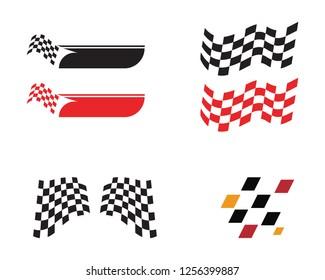 Race flag icon, simple design race flag logo template