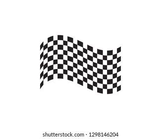 Race flag icon, simple design logo template
