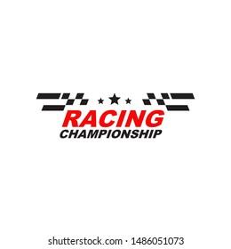 Race flag logo design vector template