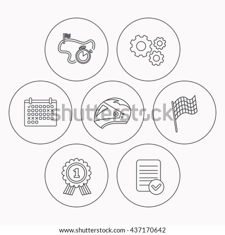 Race Flag Motorcycle Helmet Award Medal Stock Vector Royalty Free