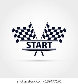 Race flag vector, start illustration