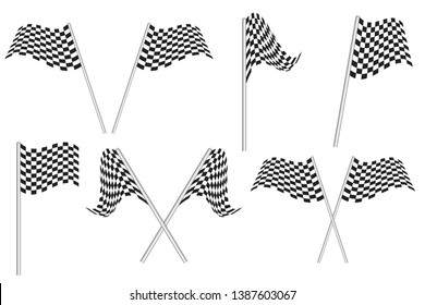 Race flags vector illustration isolated on white background. Auto racing flags.