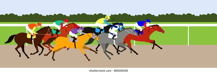 Race horses competition on racecourse of hippodrome. Flat design vector illustration. 6 horses in different phases of the galop and different colors.