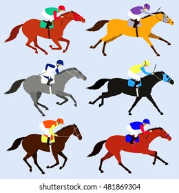 Race horses with jockeys set. Flat design vector illustration. 6 horses in different phases of the galop and different colors.  Horse racing competitions.