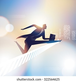 Race. Illustration of a businessman jumping over arrow sign