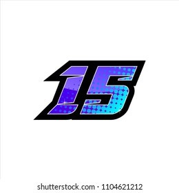 race number fifteen purple blue