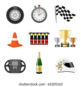 Race objects icons. Vector illustration.