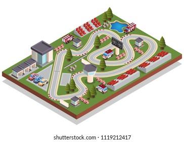 Race track. Isometric. Isolated on white background. Vector illustration.