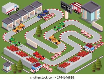 Race track. Isometric. Vector illustration.